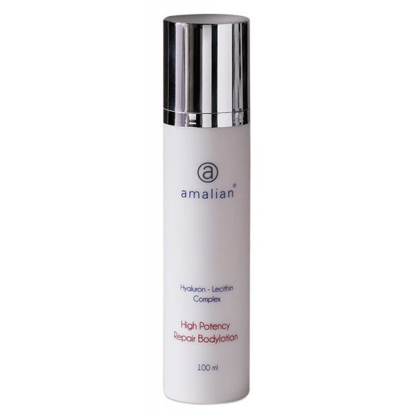 amalian® High Potency Repair Body Lotion acts deeply in the skin layers to boost collagen production and tighten the skin from within. Packed with natural moisturisers and antioxidants to restore skins moisture balance whilst reducing fine lines and wrinkles. Can be used to heal small lesions overnight and regenerate sun damaged skin.