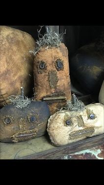 S/3 Primitive Pumpkin Faces :: Stuffed Decor/Ornaments/Table Top Decor :: FALL :: Wholesale Country Primitive Gifts/ Kp Home Collection