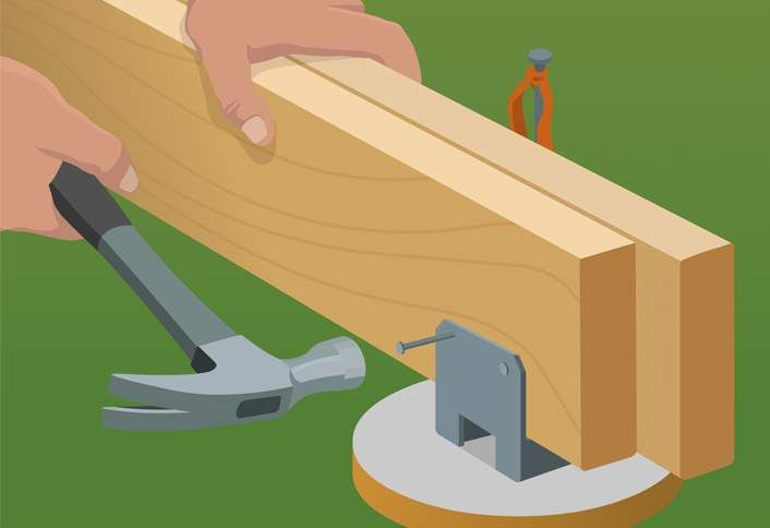 Leveling Post Anchors : Attach beams post anchors build ground level deck diy
