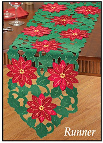 Poinsettia Cut Out Christmas Holiday Poinsettia Red Green Table Runner Linen