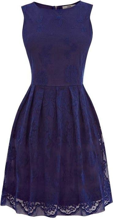 Royal navy sleeveless lace detail dress