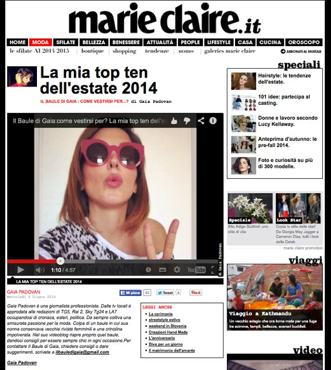 MARIE CLAIRE JUNE 2014 #marieclaire #gaiapadovan  #moda #occhiali #fashion #eyewear #eyeglasses #eyeframes #eyeshadows #vintage #cool #design #spectacle #JPLUS #madeinitaly