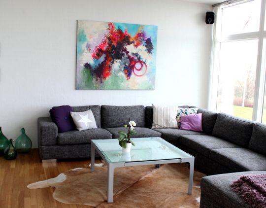Stort effektfuldt maleri til den moderne bolig.
