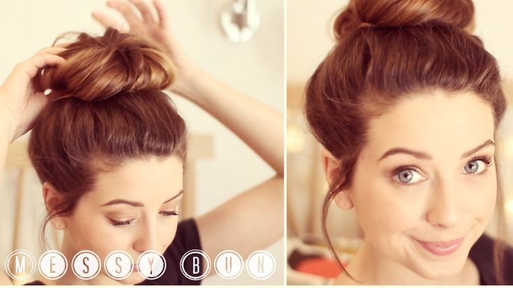 How To: Messy Bun by Zoella Messy bun in less than 5 minutes. My typical hair style when I'm studying. :))