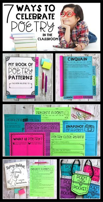 Check out this blog post which includes resources for teaching and celebrating poetry. Perfect for National Poetry Month!! Ideas include using a Poetry Patterns tab book to teach students how to write different poems, a Poem in My Pocket craft, printables for reading response to use with any poem, and a Present a Poem activity for speaking and listening!!