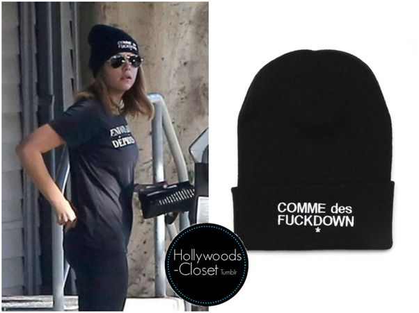 Ashley Benson is wearing this Comme Des Fuckdown Beanie. You can purchase this from Ssur for $35.00 Buy this here Worn With: Enfants Riches Deprimes Rich Kids Distressed Logo T-Shirt.