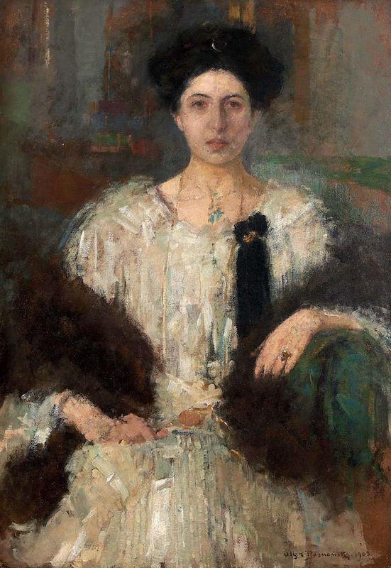 Le Portrait d'Hélène Istrati, huile sur carton d'Olga BOZNANSKA (1865-1940) datée de 1905, a doublé son estimation pour atteindre 102 500 €. La pose hiératique et la toilette trahissent le rang du modèle. Fille du premier ministre de Roumanie et épouse d'un célèbre chercheur de l'Institut Pasteur, elle fait la connaissance de l'artiste polonaise à Paris, dans le milieu des immigrés d'Europe de l'Est. Jeudi 26 juin 2014 OVV BOISGIRARD-ANTONINI #ArtModerne