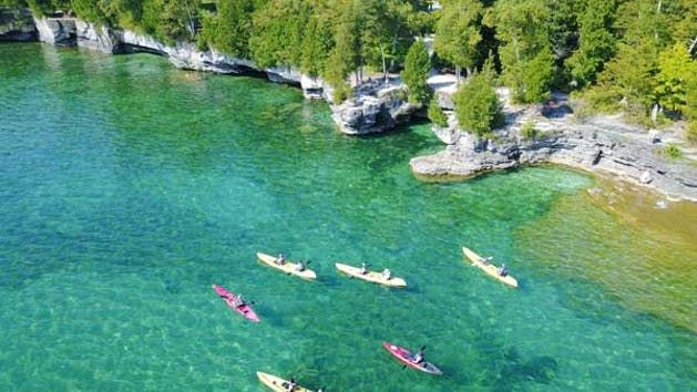 We At Cave Point Paddle Pedal Offer Various Door County Kayaking Tours That You Can Select With Images Kayak Tours Kayaking
