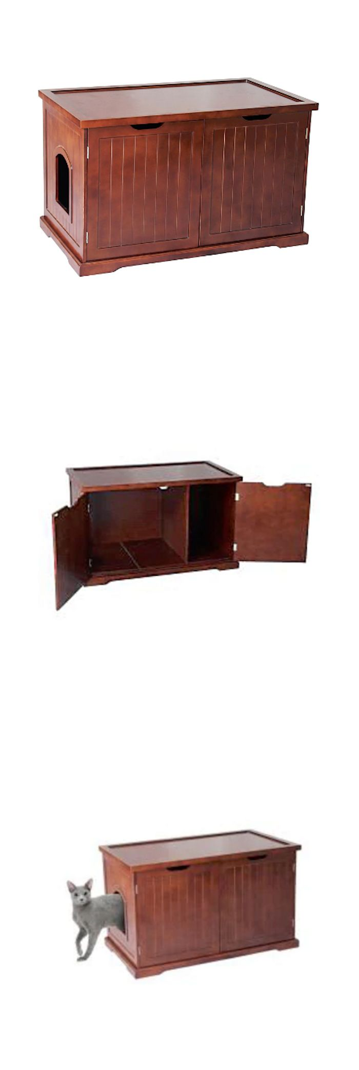 Litter Boxes 100411: Litter Box Furniture Cat Enclosed Extra Large Enclosure Cabinet Covered Kitty BUY IT NOW ONLY: $202.95