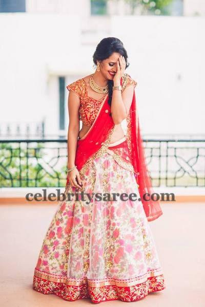 floral half half saree - Google Search