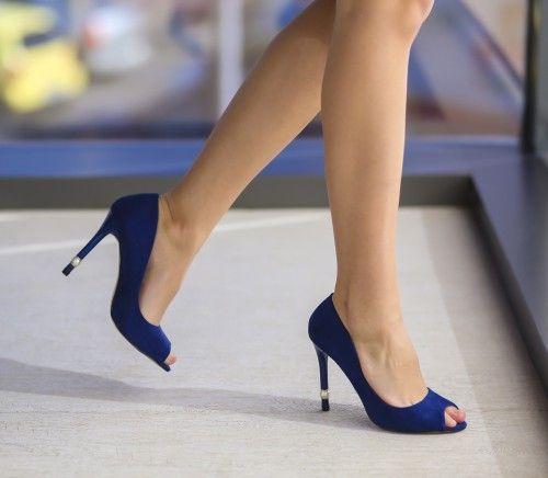Pantofi Perly Albastri - <br>Culoare:  Albastru<br>Dimensiune toc:  10<br>Material:  Piele eco intoarsa Colectia Pantofi cu toc de la  www.cutoc.net