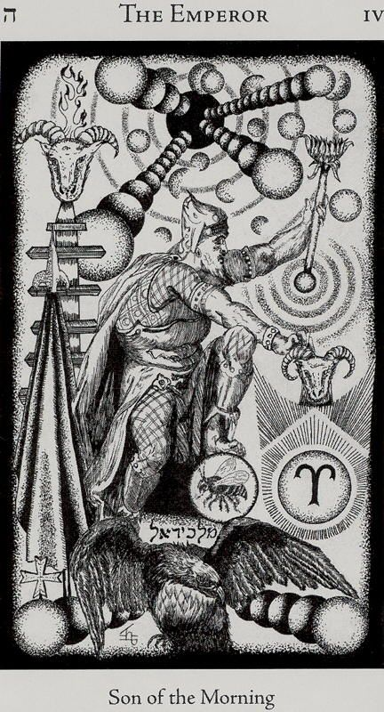 The ram is also a symbol of Aries, the astral ruler of the Emperor. In his right hand, the Emperor holds an Ankh, the Egyptian symbol of Life, and in his left is an orb representing the world over which he rules. The orange background and the Emperor's red clothing symbolise his passion and energy for life and the challenges it offers.