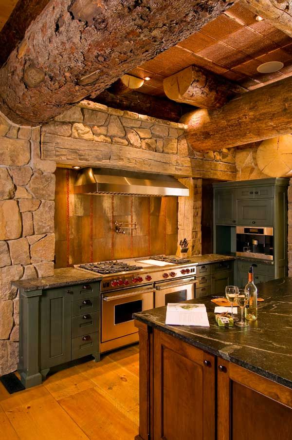 298 best images about rustic kitchens on pinterest for Log cabin kitchen backsplash ideas