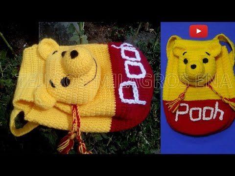 Mochila o Morral de WINNIE POOH tejido a crochet o ganchillo PARTE 2 - YouTube