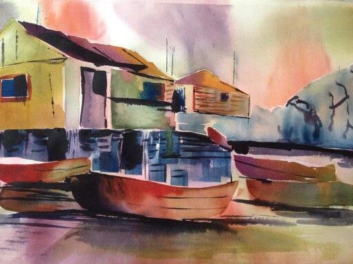 """#ASI Artist   Joanne Larose   """"Fisherman's Dock', watercolour. Contact us to purchase or commission Joanne"""