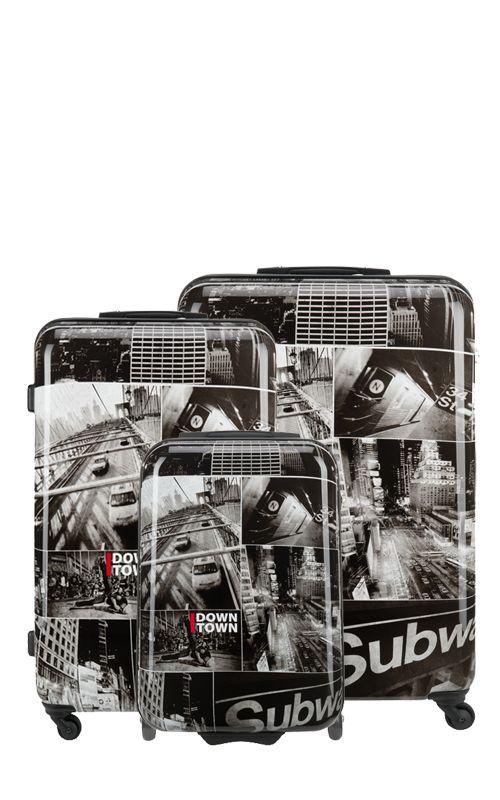Downtown'da kullanılan siyah-beyaz resim kombinasyonları dünyanın moda başkentleri Paris, Milano ve New York'ta giderek yükselen kolaj trendini yansıtır. Downtown valizinizle siz de kozmopolitan bir moda ikonu olduğunuzu hissedeceksiniz!