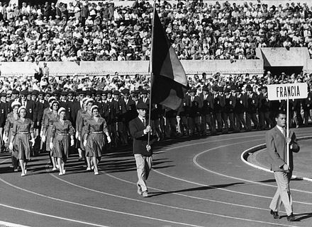 The France team at the 1960 Rome Olympics opening ceremony