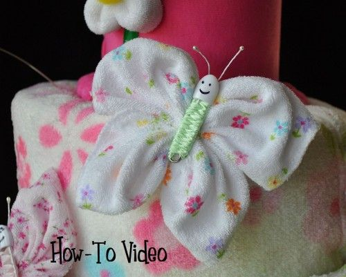 How-to Video Washcloth Butterfly | TopsyTurvyDiaperCake - How-To on ArtFire