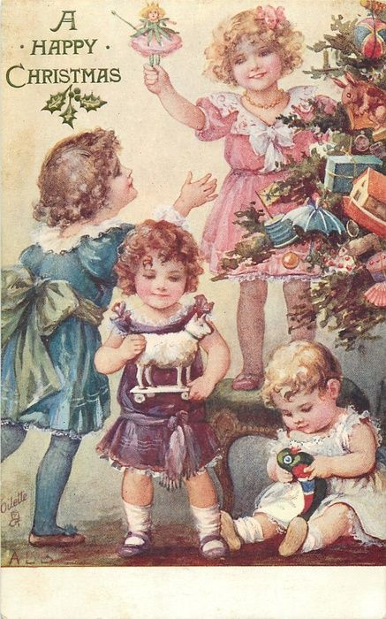 A HAPPY CHRISTMAS  four girls decorate tree, girl on right sits on floor & plays with toy bird