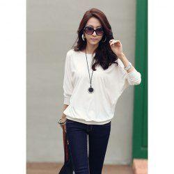 $4.45 Elegant Round Neckline Transparent Line Embellished Bat-Wing Sleeves T-Shirt For Women