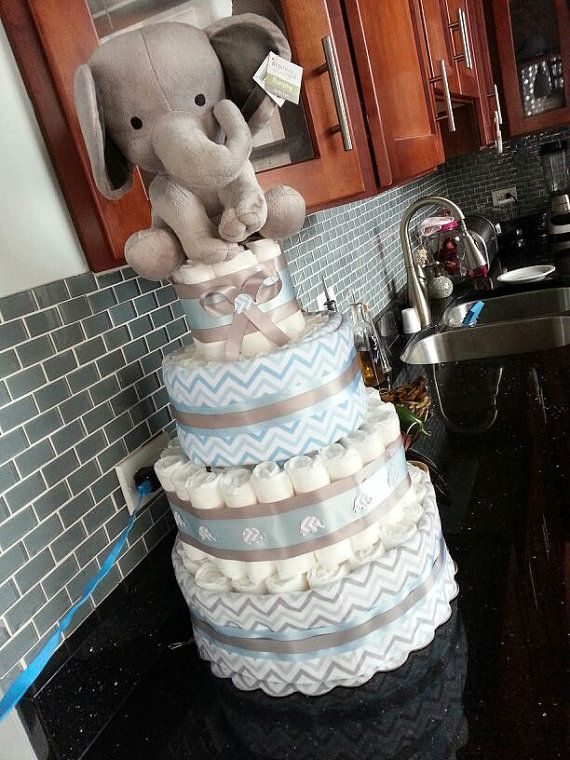 Blue and Grey Elephant Theme Diaper Cake by Wearediapercakes