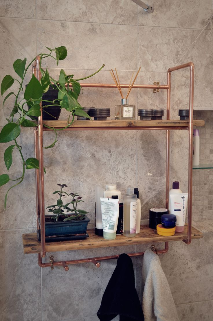 Hand made, unique, vintage style industrial chic copper pipe shelving unit. Reclaimed victorian pine floor board shelves. Authentic