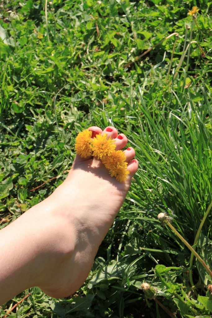 Image Barefoot In Grass, Yellow Flowers Between Toes