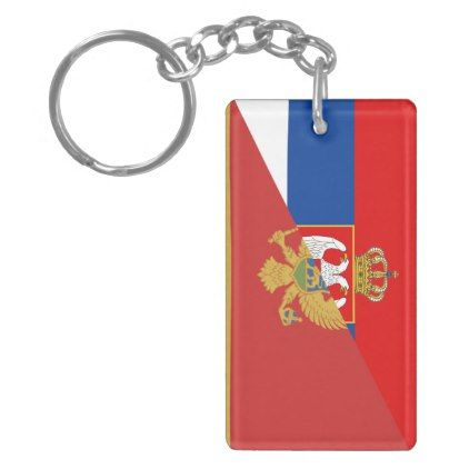 serbia montenegro flag country half symbol keychain - country gifts style diy gift ideas