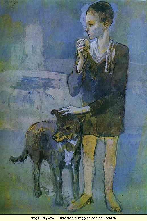 Pablo Picasso.  Muchacho con un perro.