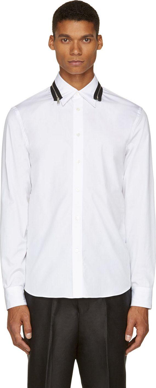 Alexander McQueen: White Zip-Collar #Shirt | SSENSE #men