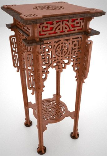 Chinese pedestal table, scroll saw fretwork pattern