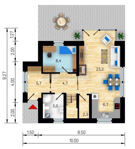 Rodinný dům Akát - půdorys přízemí