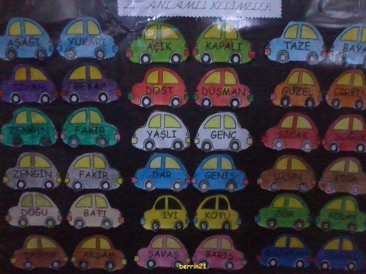Şablonunu Eğitimhaneden indirdiğim arabaları şablonlarını öğrencilerim boyayıp, kesti. Kestikleri şablonları karton üzerinde bir araya getirerek onlarla birlikte zıt anlamlı kelimeler posterimizi tamamladık.