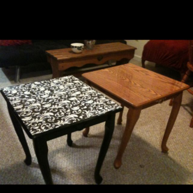 Modge podge + spray paint + scrapbooking paper.: Side Tables, Podge Tables, Diy Furniture, Wallpapered Stencil, Furniture Redo, Mod Podge, Scrapbook Paper, Diy Modg Podge Crafts, Sprays Paintings