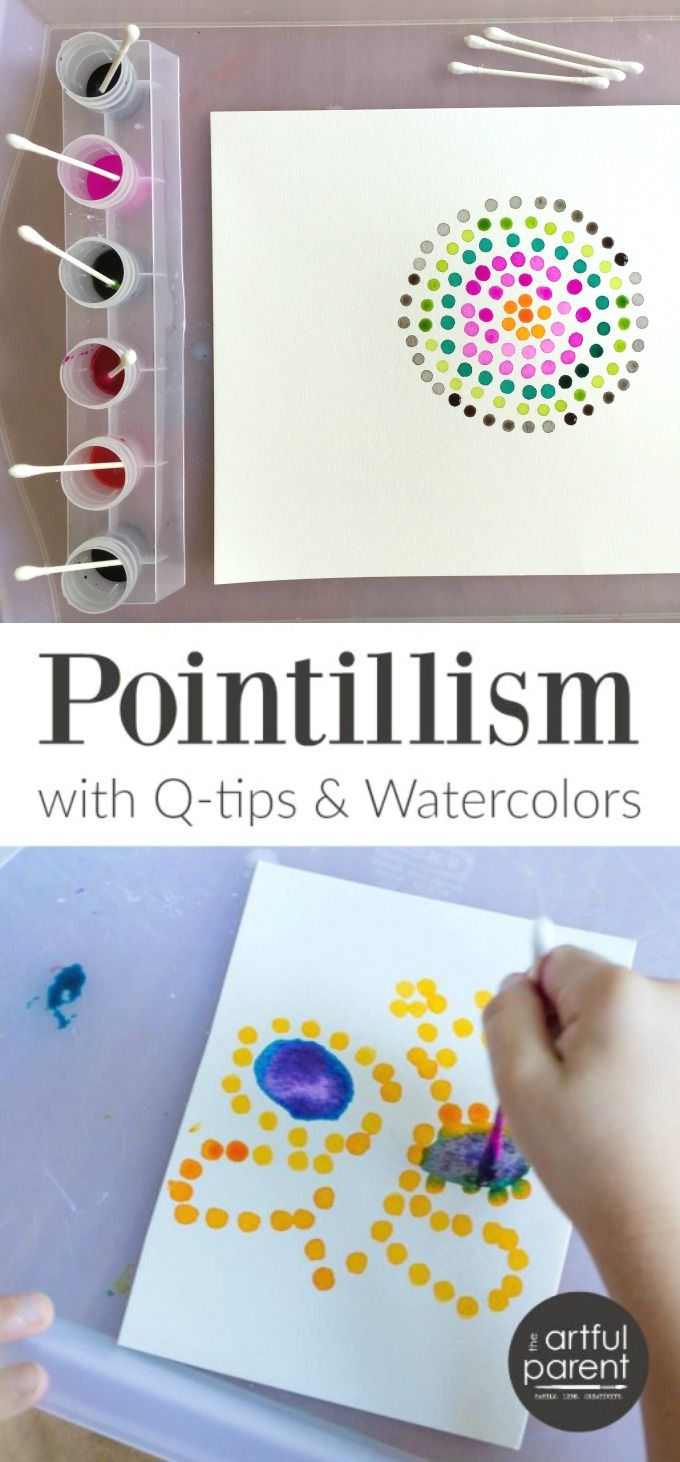 Pointillism art with Q-tips is one of our standby, super-easy-yet-interesting activities and watercolors work great for it! || Activities For Kids || Games For Children || Art Projects For Kids