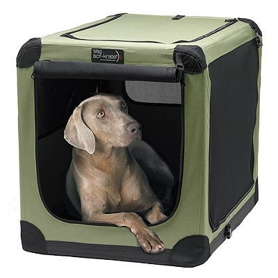 Soft Sided Portable Dog Crate. Our Soft Sided Portable Dog Crate sets up in seconds for use indoors or outdoors. Stylish, lightweight, and washable, this portable dog crate with 4-sided ventilation maximizes your pet's comfort in any climate.  $149.50