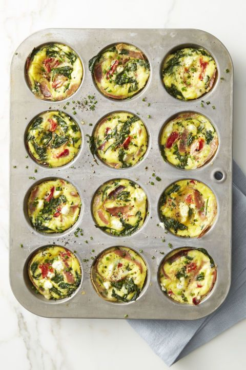 Spinach and Prosciutto Frittata Muffins: Mini fritattas a la muffin pan couldn't be simpler. Feel free to play around with fillings. Click through for more easy Easter buffet dishes to make!