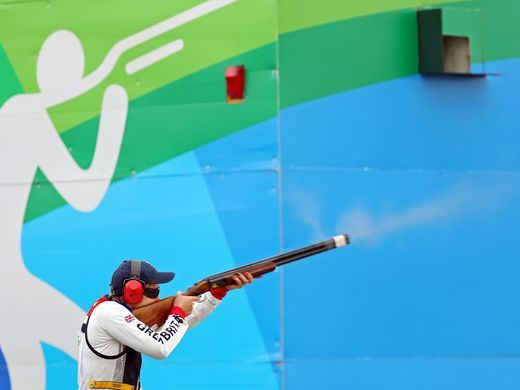 Elena Allen of Great Britain shoots during the women's