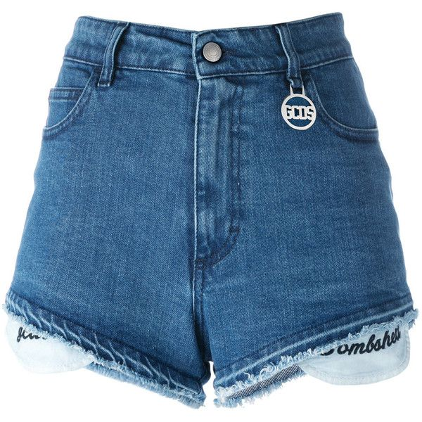 Gcds frayed trim shorts ($180) ❤ liked on Polyvore featuring shorts, blue, frayed shorts, blue shorts and gcds