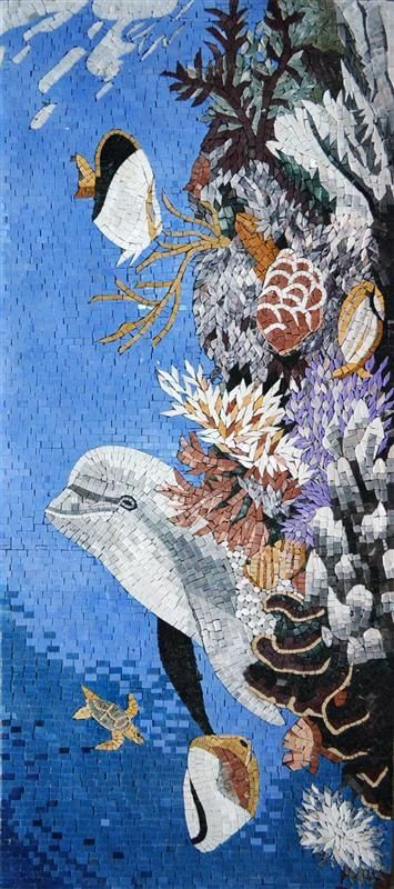 Stainglass Mosaics On Glass | Art - Mosaics & Stained Glass / Dolphin In Ocean Mosaic
