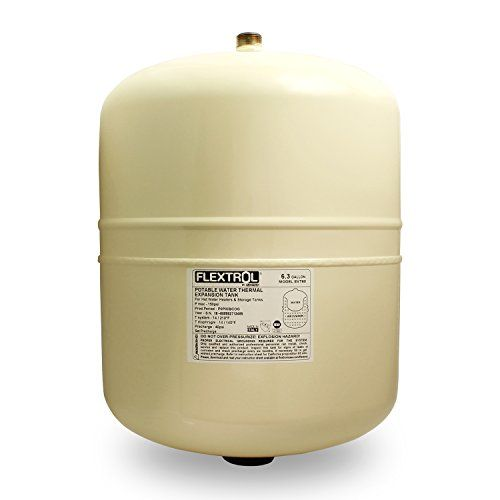 Flextrol Thermal Expansion Tanks  For Hot Water Heaters 63 Gallons Carbon Steel Shell Stainless Steel 34 Inch MIP Connection Butyl Diaphragm 150 PSI 210 Degrees Fahrenheit Almond Color *** ON SALE Check it Out