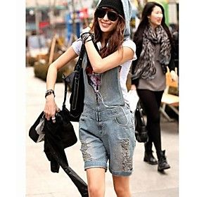 Women's Vintage Cute Jeans Jumpsuit Shorts with Holes