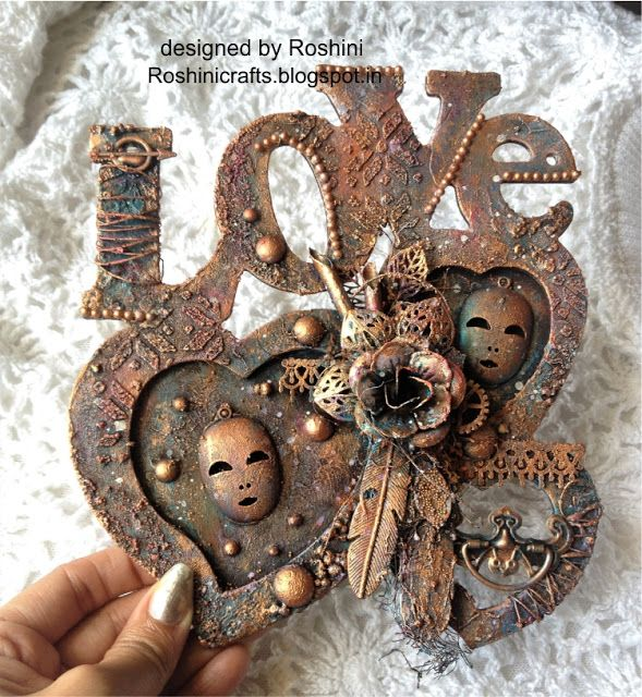 Altered LOVE wooden photo frame in Antique style - Roshini Crafts