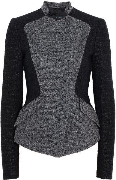 Collarless Tweed Blazer - Lyst