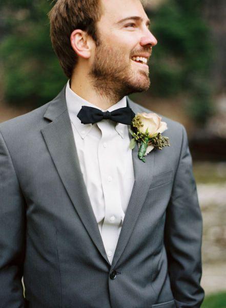 grey suit + black bowtie // groom style inspiration