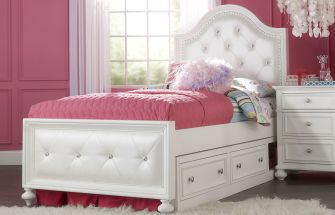 The madison collection 39 s upholstered bed makes a glamorous for Furniture world bremerton