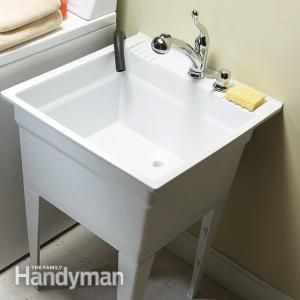 Upgrade Your Laundry Sink - Complete a simple sink change-out in less than half a day.  Get the #DIY project: http://www.familyhandyman.com/laundry-room/upgrade-your-laundry-sink/view-all