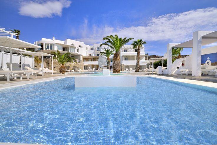 The sun shines high at Palladium hotel in Mykonos.  http://www.hotelpalladium.gr/