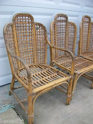 TLC 4 Chippendale Chinese Bamboo Chairs Oriental Patio Rattan Pavillion Sty  Four   EBay