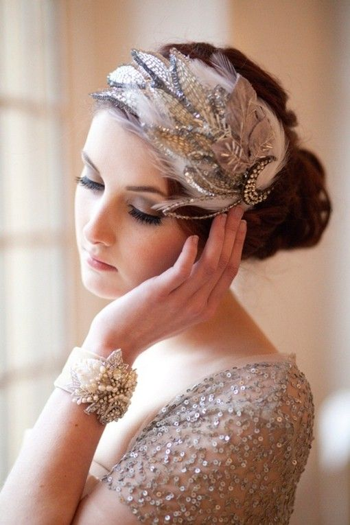 hair style - feathers & sequins